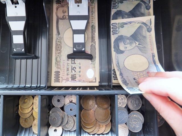 レジの1,000円札