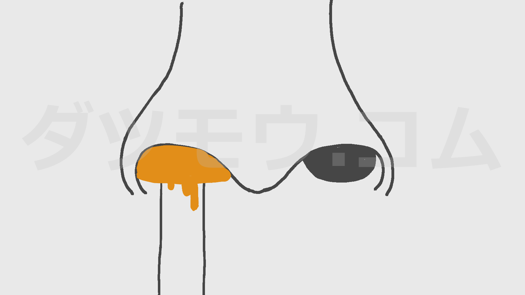 ノーズワックスを鼻に入れる