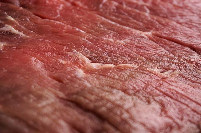 ドアップの牛肉