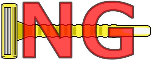 黄色いT字カミソリと赤いNG文字