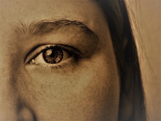 左目と左眉毛のズームアップ