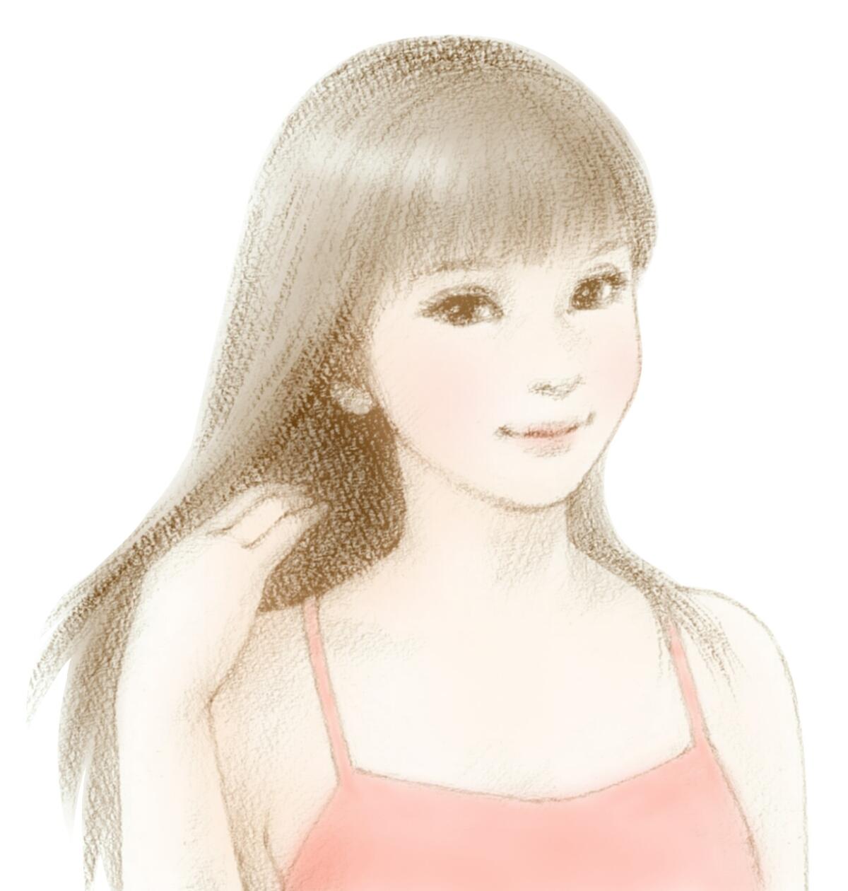 右手で髪の毛を少しだけかき上げるイラスト女性
