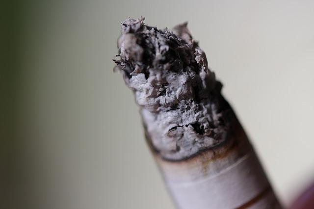 タバコの先の灰