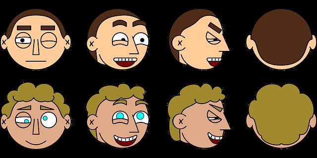 二人の色々な表情をする男性のイラスト