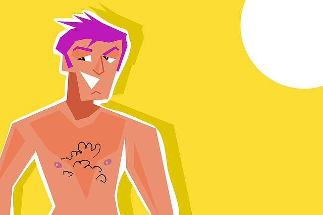 ムダ毛がある上半身裸の男性のイラスト