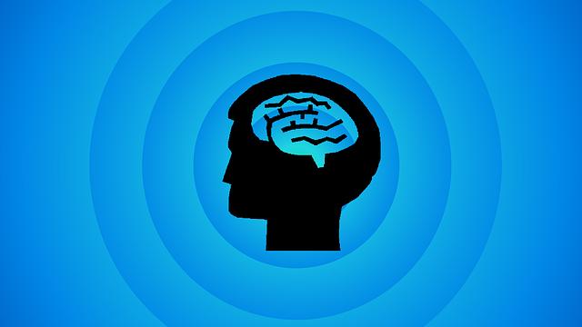 考える青い色をした脳