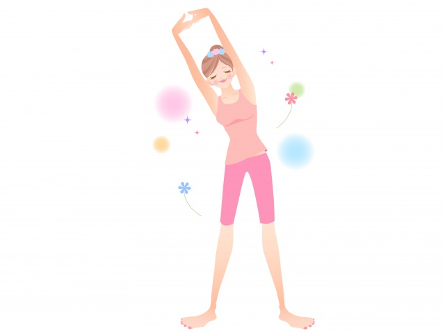 準備体操をしている女性