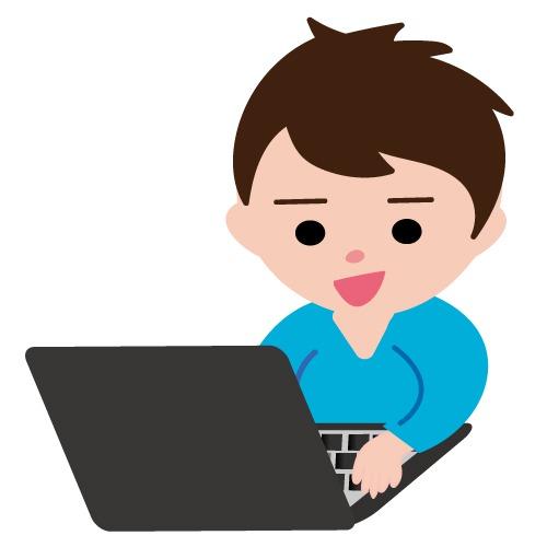ノートパソコンを使用している男性