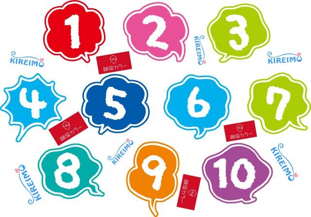 数字とキレイモと銀座カラーのロゴ