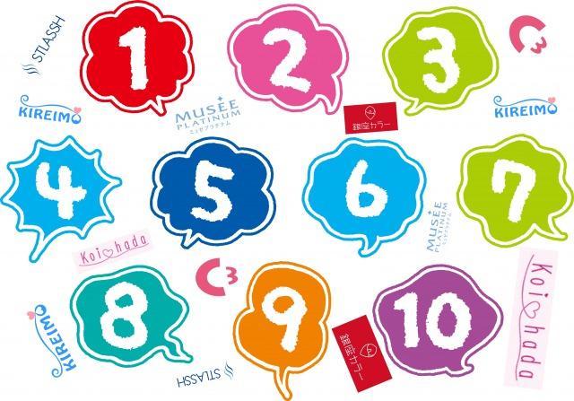 数字とキレイモとミュゼプラチナムとシースリーとストラッシュと銀座カラーと恋肌のロゴ