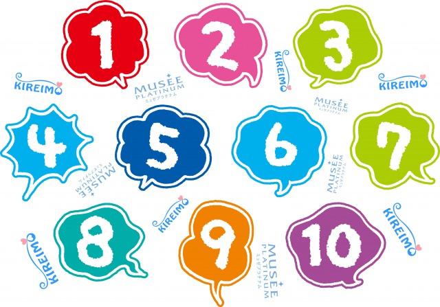 数字とキレイモとミュゼプラチナムのロゴ