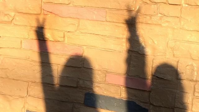 影にうつる二人の女性のピース