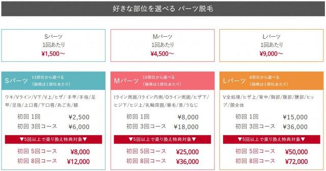 渋谷美容外科クリニックの女性の料金表