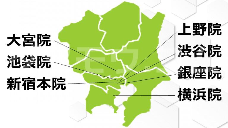 関東の地図とゴリラクリニックの場所