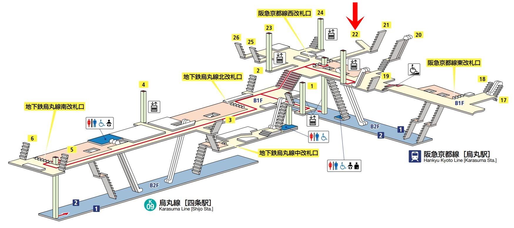 烏丸駅と四条駅の構内図