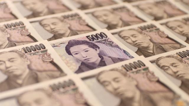 沢山の1万円札の中に5千円