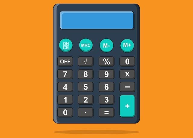 オレンジ色の背景の計算機